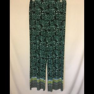 Cato 14/16W Green Multicolor Wide Leg Pants